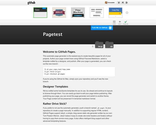 Github page select theme
