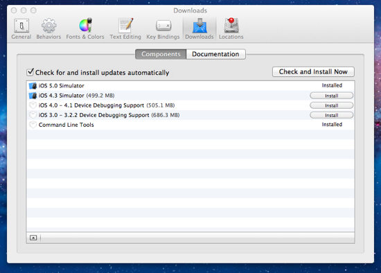 Xcode 4 3 2 preferences downloads 1