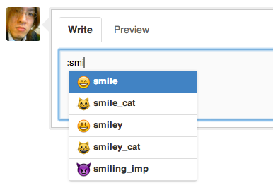 Github emoji autocomplete smile